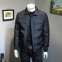 冬季新zg羽绒服男士hx身翻领轻薄外套简约百搭青年保暖羽绒衣