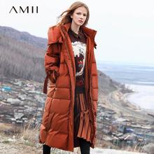 Amizg极简个性连xj服女土冬季宽松新式过膝长式白鸭绒防寒外套