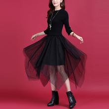 202zg秋冬新式羊yy拼接连衣裙下摆不对称时髦纯色打底裙