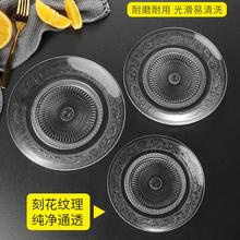 玻璃水zg盘圆形(小)吃yy盘糕点盘子 创意(小)吃碟点心碟酒吧KTV