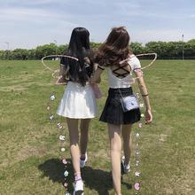 百褶裙zg夏a字高腰wg生院风短裙2020新式半身黑白裙子防走光
