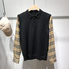 【假两zg毛衣】格子wq接假两件针织衫男修身韩款针织polo衫潮
