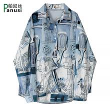 花衬衫zg长袖设计感wq古2020秋装宽松古着文艺轻熟风学生衬衣