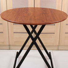 可收折zg圆桌餐桌家wq塑料圆台园桌面椅�x桌吃饭桌拆叠桌子