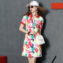 芬克鲨zg女装夏季短wq裙女2020新式时尚印花休闲Polo裙显瘦春