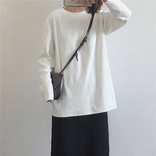 muzzg 2020wq制磨毛加厚长袖T恤  百搭宽松纯棉中长式打底衫女