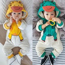 婴儿连zg衣冬装0一wq冬衣服6-12个月加绒保暖爬服男宝宝外出服