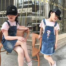 中(小)童zg季卡通图案zh棉牛仔背带裙童装女童牛仔裙春装吊带裙