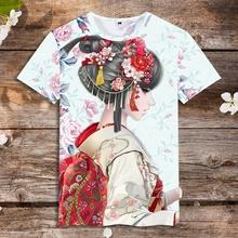 中国风zh女图案潮牌ng古民族风夏季男装社会青年(小)伙短袖T恤