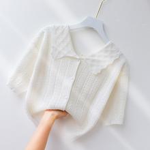 短袖tzh女冰丝针织ie开衫甜美娃娃领上衣夏季(小)清新短式外套