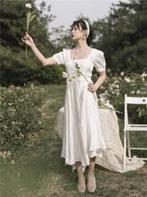 白色法zh复古方领泡ao021新式春装仙女气质收腰茶歇长裙