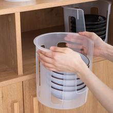 日本进zh大号塑料碗le沥水碗碟收纳架厨房抗菌防震收纳餐具架