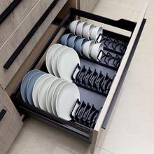 橱柜抽zh碗架内置碗uo厨房单层柜内放碗盘子沥水架收纳置物架