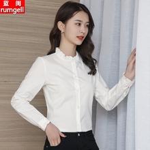 纯棉衬zh女长袖20ng秋装新式修身上衣气质木耳边立领打底白衬衣