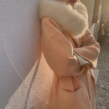 ZHUzhIYI橘粉fg毛领高端双面羊绒大衣女2020冬连帽毛呢外套
