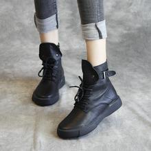欧洲站zh品真皮女单li马丁靴手工鞋潮靴高帮英伦软底