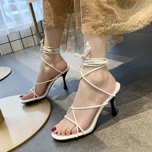 交叉绑zh罗马凉鞋女ts潮2020春季新式韩款百搭细跟一字跟高跟鞋