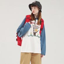 PROzh独立设计 ts通图案可爱长袖T恤女宽松学生趣味