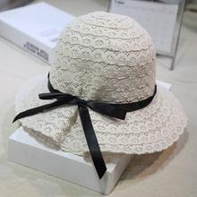 女士夏zh蕾丝镂空渔la帽女出游海边沙滩帽遮阳帽蝴蝶结帽子女
