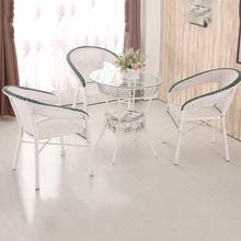 藤编阳zh茶几休闲桌lw简约钢化玻璃(小)圆桌子创意圆形喝茶桌子