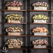 客厅仿zh假花篮盆栽lw栏摆件塑料干花束植物家居餐桌茶几绢花