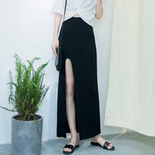欧美风zh头女装夏季uo性感包臀长裙前侧开叉半身裙大码(小)码