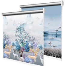简易窗zh全遮光遮阳bu打孔安装升降卫生间卧室卷拉式防晒隔热