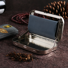 110zhm长烟手动bu 细烟卷烟盒不锈钢手卷烟丝盒不带过滤嘴烟纸