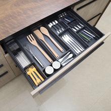 厨房餐zh收纳盒抽屉un隔筷子勺子刀叉盒置物架自由组合可定制