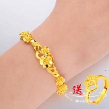 仿真越zh沙金手链女ui花朵镀金金首饰黄金纯金色婚庆久不掉色