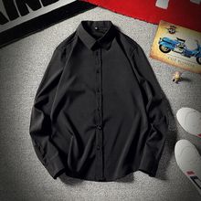 纯色商zh休闲长袖衬un场男胖的衬衣加肥加大码男装春秋式上衣
