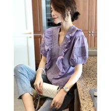 香芋紫zi上衣女泡泡24短袖大款衬衫女装短式宽松秋2020夏欧货