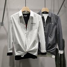 三千弱zi 原创20ju季新式竖条纹长袖衬衣男韩款修身男士衬衫潮