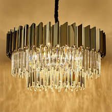 后现代zi奢水晶吊灯jt式创意时尚客厅主卧餐厅黑色圆形家用灯