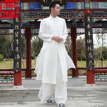 唐装男zi式汉服男士kq男装套装长袍禅服古风古装棉麻长衫道袍