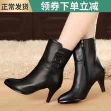 秋冬季zi鞋高跟鞋中kq真皮靴子中靴牛皮女靴骑士靴单靴春季