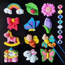 宝宝dziy益智玩具zi胚涂色石膏娃娃涂鸦绘画幼儿园创意手工制