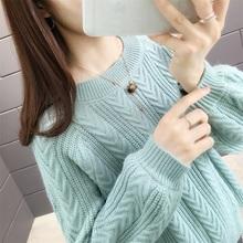 女短式zi装2019wp款宽松显瘦纯色毛针织衫外搭上衣