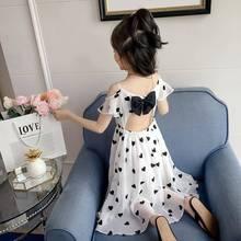 女童夏zi连衣裙20he纺露肩吊带裙甜美长裙子(小)女孩沙滩裙新式