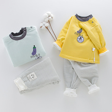 婴儿秋zj套装1-2bj男女宝宝棉衣加厚冬装保暖内衣夹棉宝宝棉服