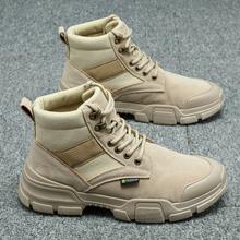 夏季马zj靴男士军靴rw装男鞋沙漠大黄男靴英伦风雪地百搭潮鞋