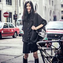 原创慵zj风黑白衬衫lw式宽松显瘦BF风oversize纯色肌理衬衣裙