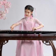 宝宝式zj中大童仙女ao逸中国风钢琴二胡表演服长裙