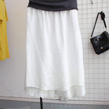 ED zkqyipagw文艺亚麻棉麻拼接半身裙假两件阔腿裤裙大码女裤子
