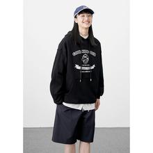 PROzlBldg2yz春秋季新式黑白男孩卡通韩款宽松连帽卫衣女薄式外套