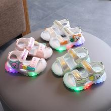 包头防zl宝宝凉鞋女sc岁2亮灯男童沙滩鞋2021夏季新式幼童学步鞋