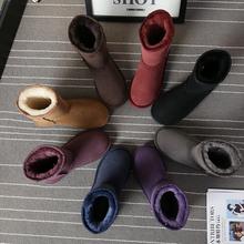 201zl新式冬季羊ui体雪地靴中筒真皮女靴防水加厚学生短筒棉鞋