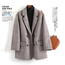 女士羊zl呢子西装2wl秋冬新式格子宽松大码 双面呢羊绒大衣外套