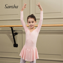 Sanzmha 法国hx童长袖裙连体服雪纺V领蕾丝芭蕾舞服练功表演服