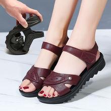 180妈zm1凉鞋夏季kt新款平跟软底中年舒适平底老的中老年的女鞋